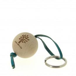 Porte-clés en bois FSC et cuir Sebio Turquoise
