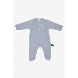 Pyjama velours en coton BIO - Bleu et plumes
