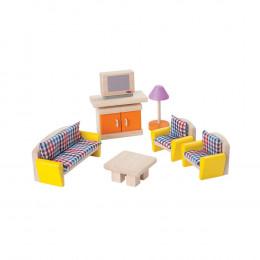 Salon bois coloré maison de poupée - à partir de 3 ans