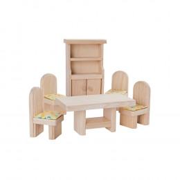Salle à manger bois maison de poupée - à partir de 3 ans