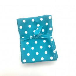 3 Mouchoirs lavables et réutilisables de 38 cm - Dots Turquoise