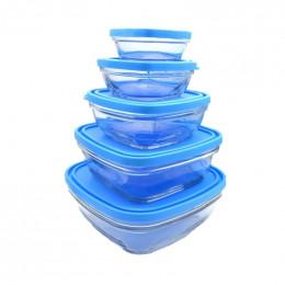 Set de plats en verre avec couvercles - 5 pièces