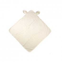 Cape de bain avec capuchon à oreilles - Coton Bio - Ecru