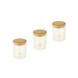 Set de 3 pots ronds en verre + couvercles en bambou - 190ml