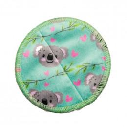 10 lingettes démaquillantes Minky + filet de lavage - Koala vert