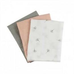 Lot de 3 langes à plier en coton Bio - 70 x 70 cm - Soft ginko
