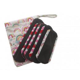Kit de départ - serviettes hygiéniques lavables Minky -  Pochette Arc en ciel et serviettes aléatoires