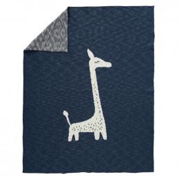 Couverture berceau en tricot Giraf indigo 80 X 100 cm