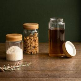 Bocal hermétique en verre et bambou -  650 ml