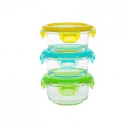 3 plats ronds étanches en verre - 3 x 210 ml