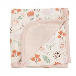 Couverture réversible coton BIO - Flowers Pink