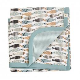 Couverture réversible coton BIO - Poissons Turquoise