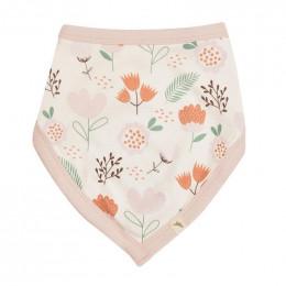 Bavoir bandana réversible - 0 à 12 mois - Flowers Pink