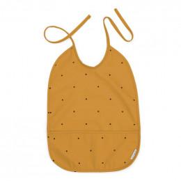 Bavoir imperméable Lai - Classic dot mustard