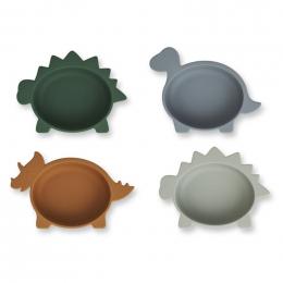 Set de 4 bols en silicone Iggy - Dino blue multi mix