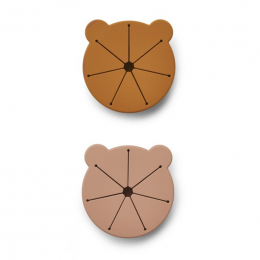 Set de 2 boîtes à collations Kelly - Mr bear Dark rose & mustard mix