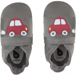 Chaussons Soft Sole Grey Red Racing Car 001-10