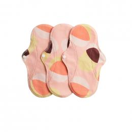 3 serviettes hygiéniques lavables - coton BIO - REGULAR - Pink Hoop