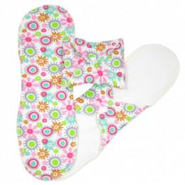 Serviettes hygiéniques lavables en coton BIO Fleurs - NUIT - pack de 3